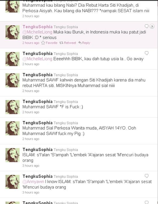 gambar siapa twitter tengku sophia hina islam