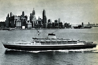 Touched up postcard of the Cristoforo Colombo Showing Her at Top Speed in New York Harbor.