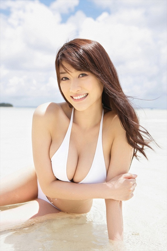 Mikie Hara on The Beach in White Bikini Photo