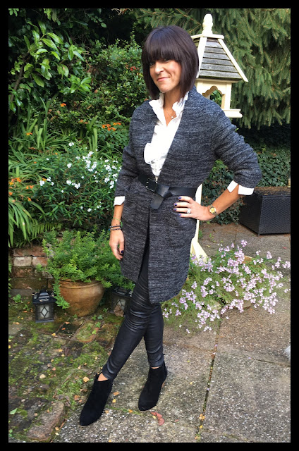 My Midlife Fashion, Massimo Dutti Leather Leggings, Mango Ankle Boots, H and M Ruffle Blouse, Zara Oversized Cardigan