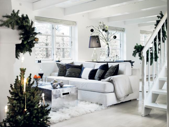 Decoraci n f cil decoracion para navidad en blanco y negro - Casas decoradas en blanco ...