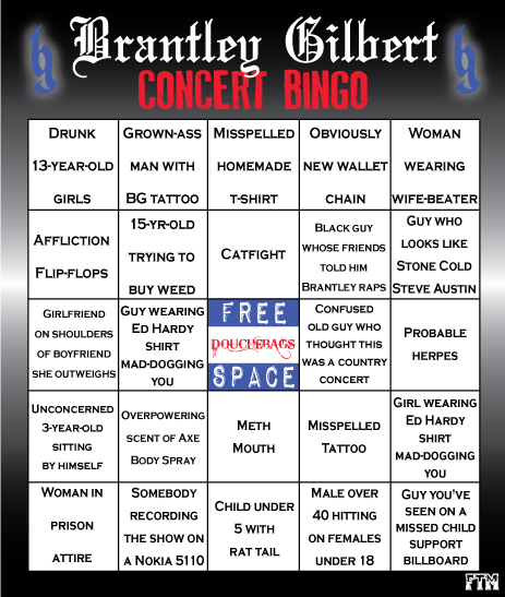 Farce the music brantley gilbert concert bingo for Farcical noun