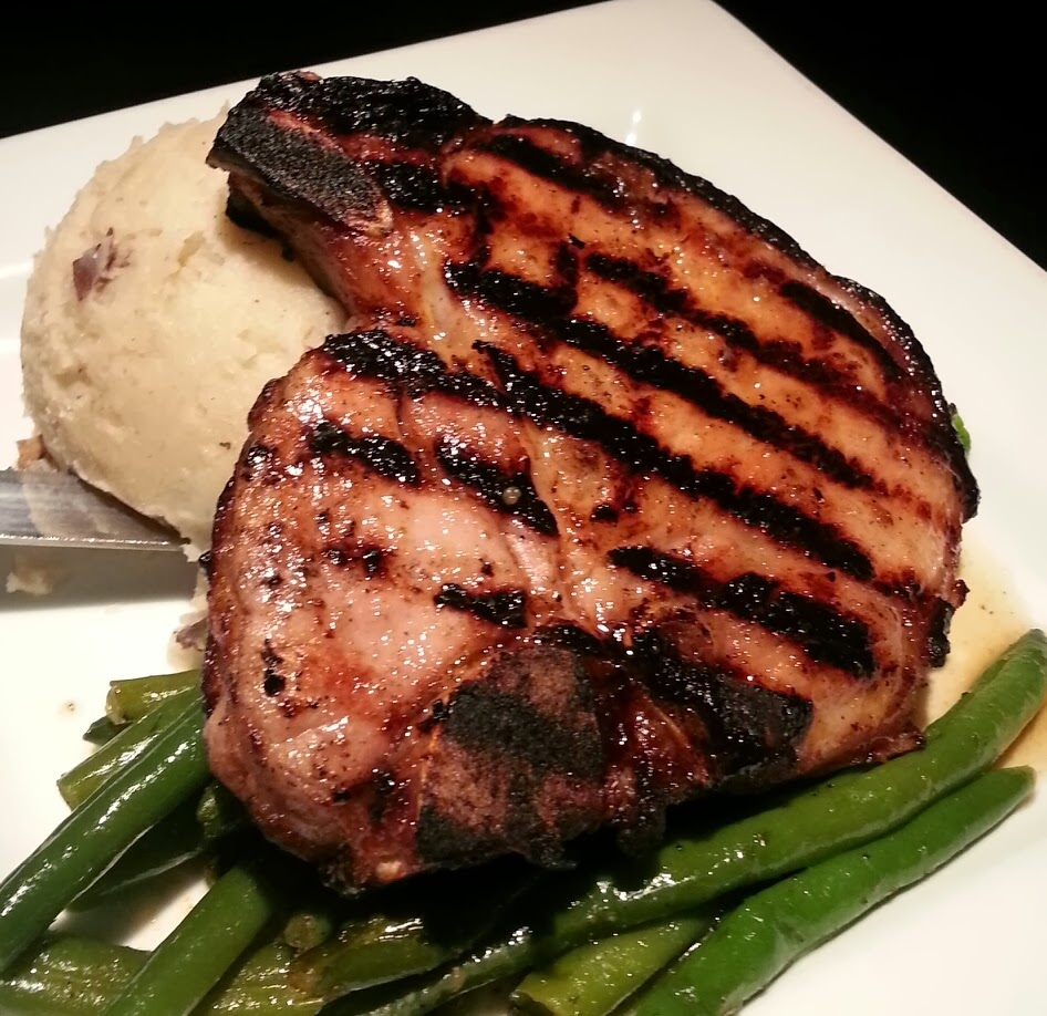 Glazed Pork Chops With Smashed Potatoes And Stewed Green Beans Recipes ...