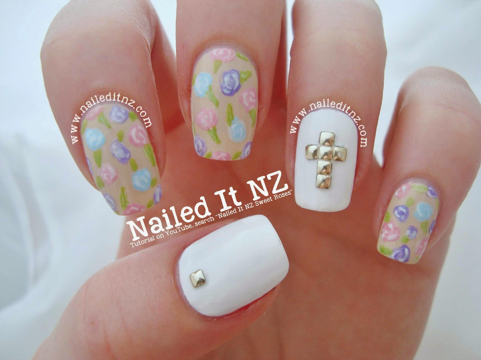 Sweet Roses & Studded Cross | Nail Art Tutorial