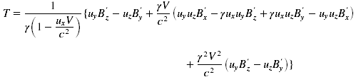 one set of terms in the Lorentz force matrix