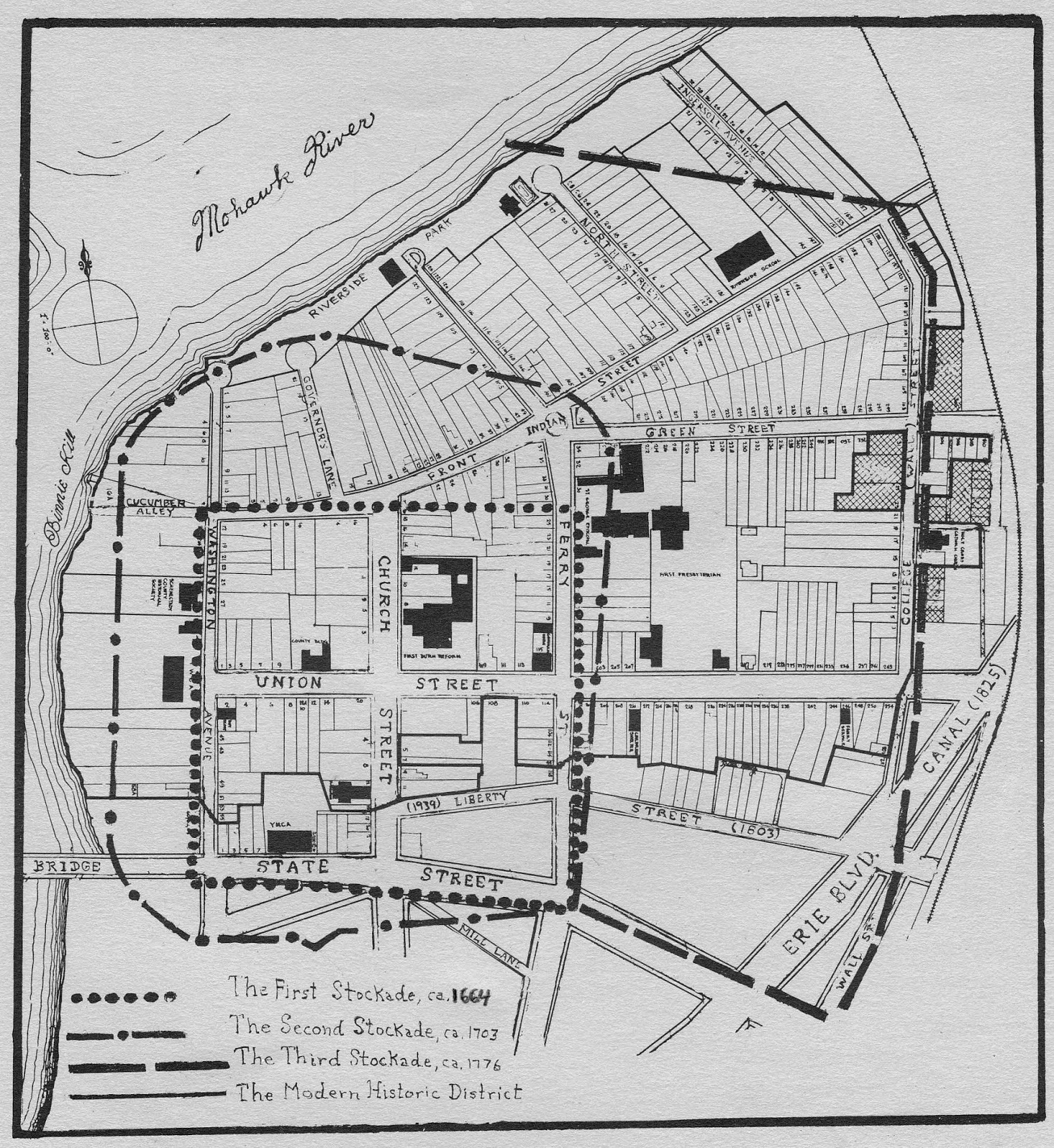 Grems doolittle library collections blog the rise and fall of stockades built around the settlement at schenectady overlaid on a modern map of the modern stockade historic district the location of wall street can ccuart Gallery