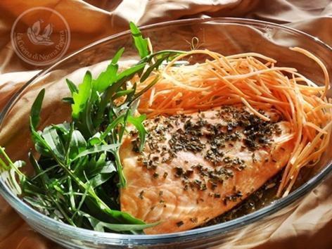 salmone al forno a microonde