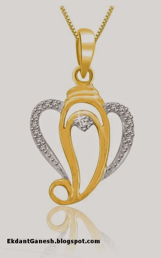 Ekdant ganesh diamond studed ganpati pendant design jewellery design ganesh diamond studed pendant design mozeypictures Gallery