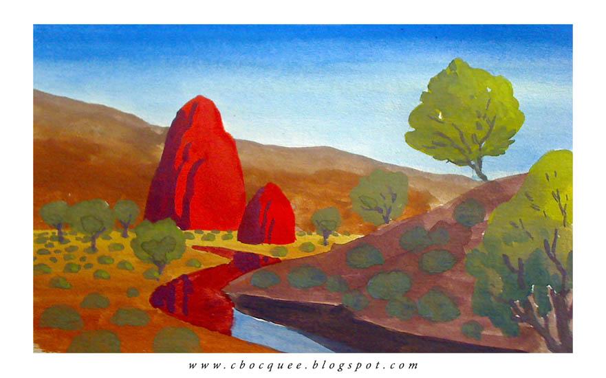 imaginary australian landscape painting