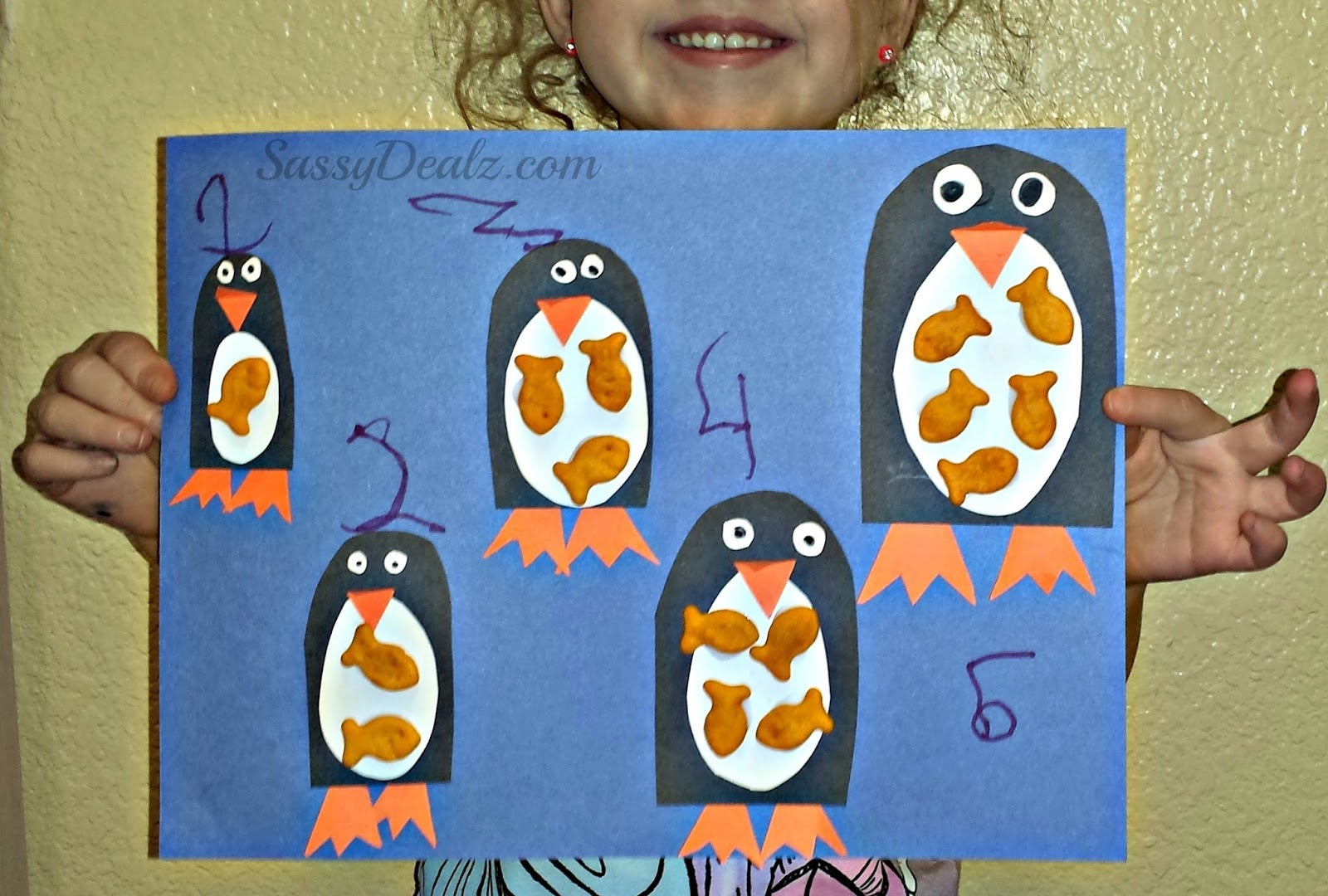 Penguin goldfish cracker counting to 5 activity amp craft for kids