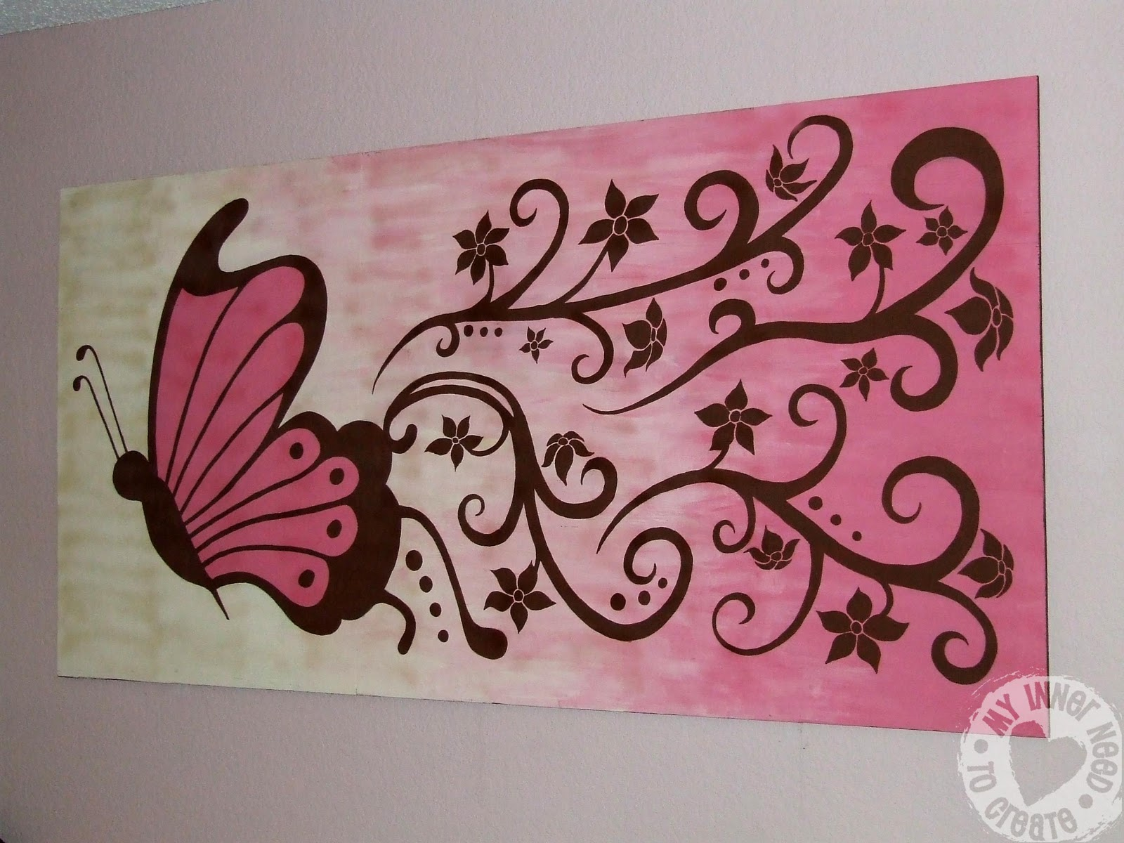 My inner need to create brown and pink butterfly and for Mural painting ideas