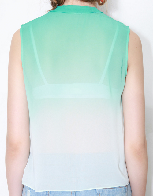 Ombre Sleeveless Chiffon Shirt