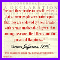 "A Thomas Jefferson Quote from the Declaration of Independence ""We hold these truths to be self-evident: that all men are created equal; that they are endowed by their Creator with certain unalienable rights; that among these are life, liberty, and the pursuit of happiness."""