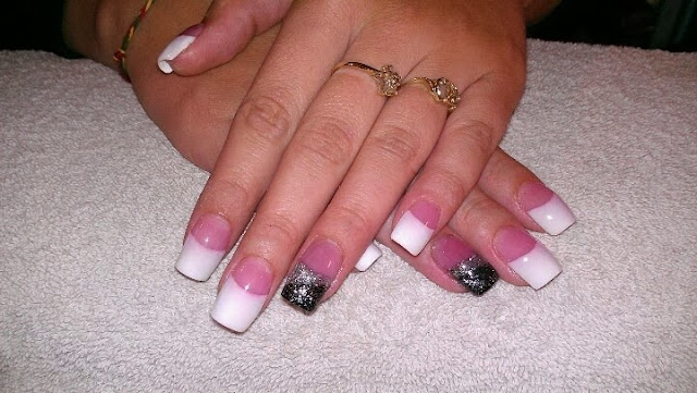 french white with black & silver glitz ring finger feats acrylic nail art design