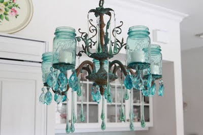 Aqua Mason Jar Chandelier 