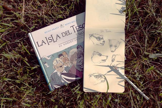 """Cómic """"La isla del Tesoro"""" de Hugo Pratt y bocetos para el cómic de divulgación """"Trojan Bear"""""""
