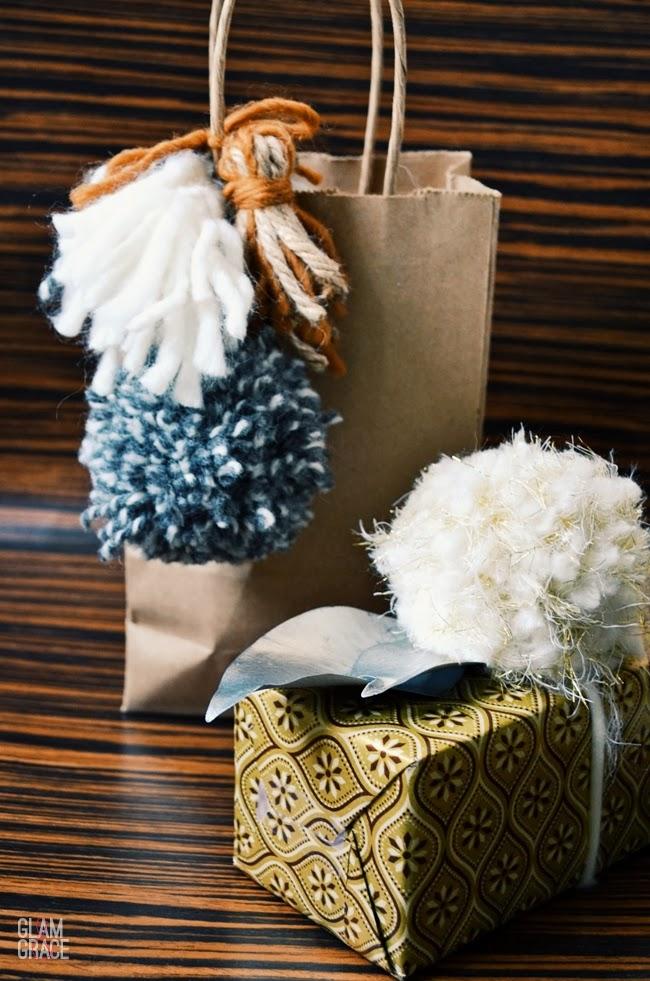 Pom pom and tassel gift wrap