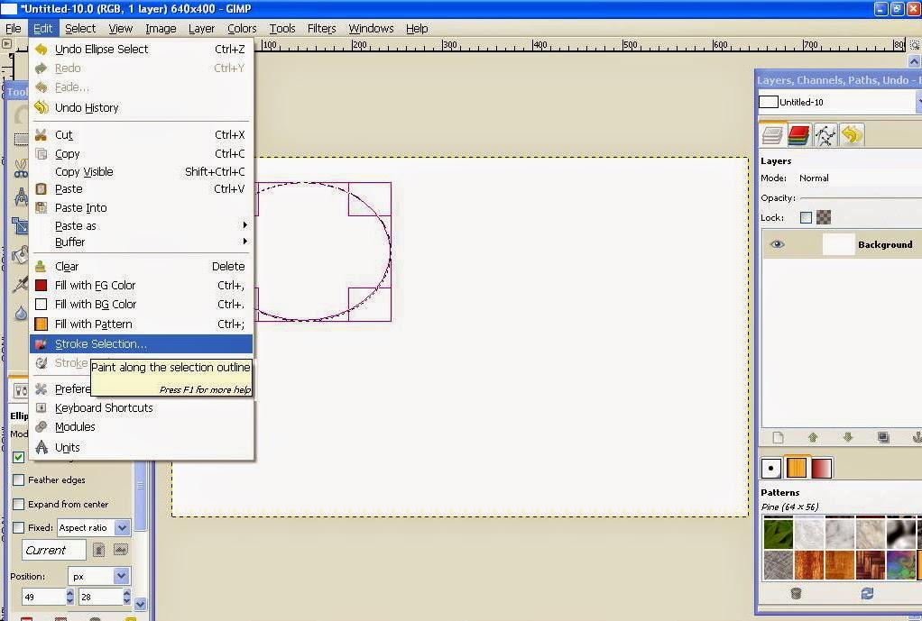 Membuat Garis Lurus, Bebas, Lingkaran dan Segi Empat Di GIMP 6