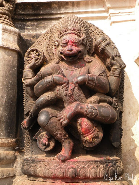 Vishnu Narsingh sculpture in Bhaktapur, Nepal