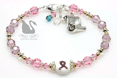 Nancy's Custom Cystic Fibrosis Awareness Graduation Bracelet (B151-II)
