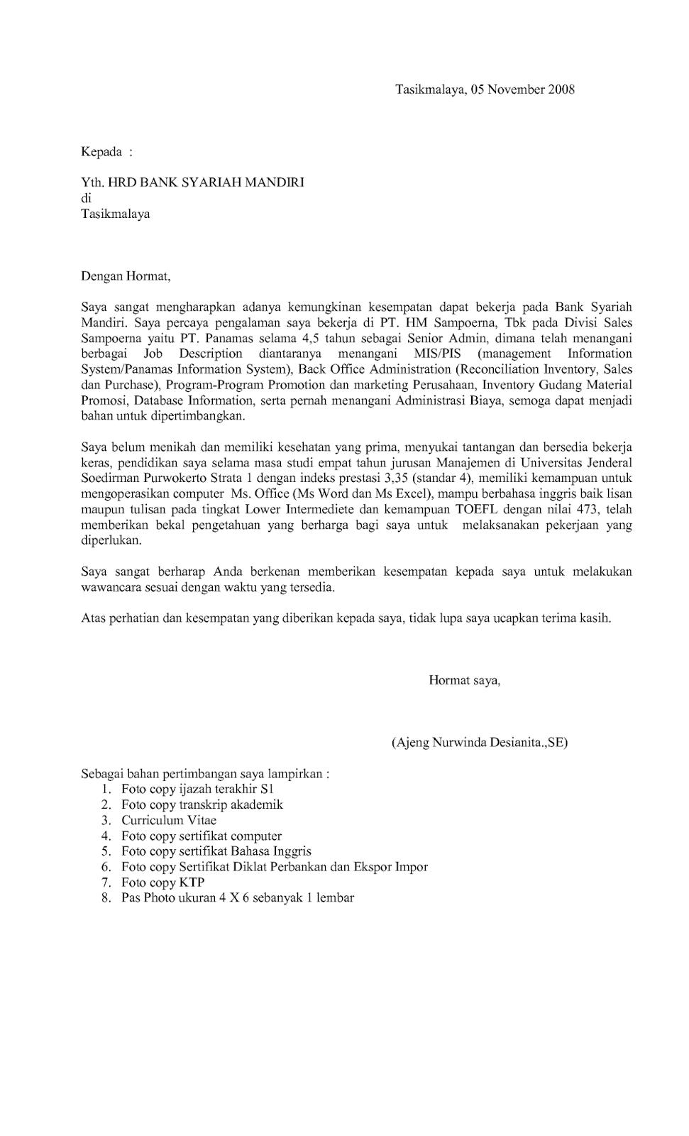 Surat Lamaran Kerja ODP Mandiri Ben Jobs