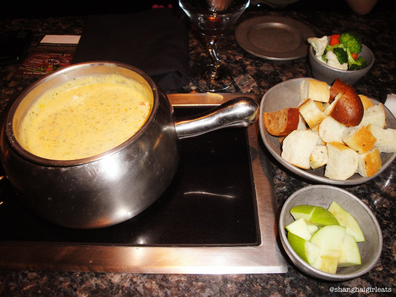 1st Course: Creamy tomato cheese fondue with bread, veggies, and ...