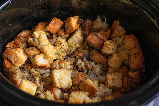 A picture of what the stuffing looks like after 4 hours of cooking in the crock pot.