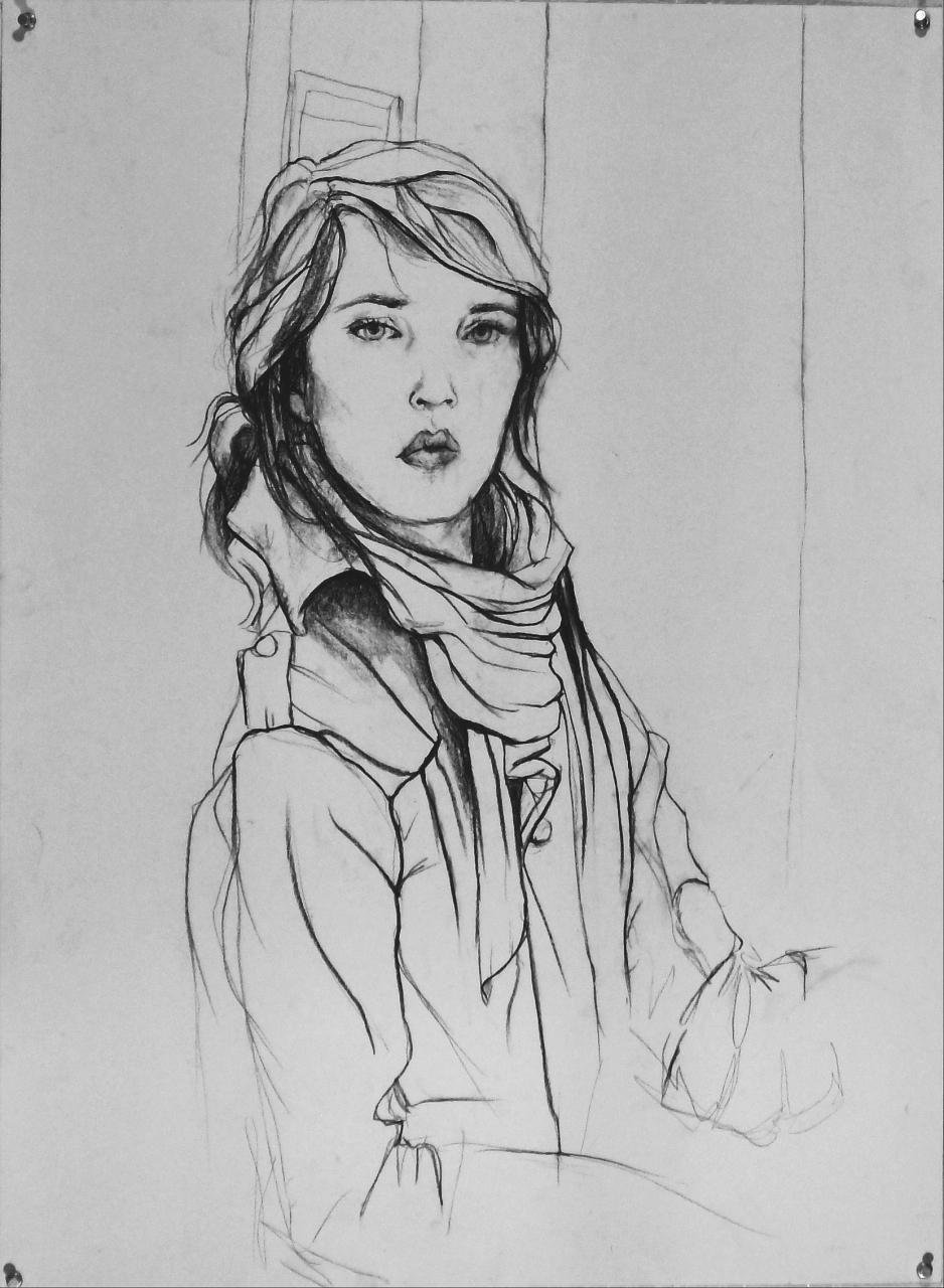 Contour Line Drawing Self Portrait : Basic drawing self portrait controlled contour