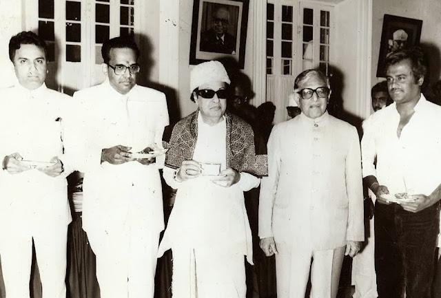 MGR with 'AVM' Saravanan & 'Super Star' Rajinikanth