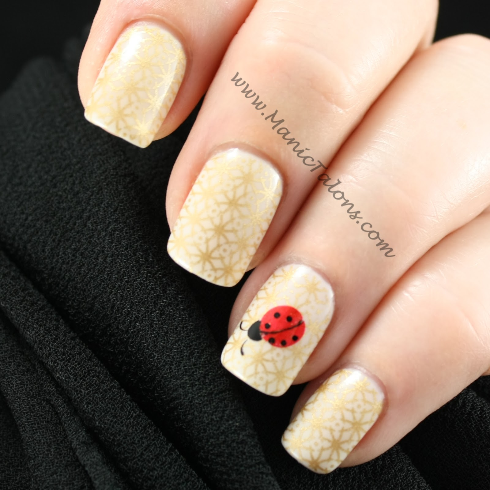 Manic Talons Nail Design: Neutral, Gold and Ladybugs: A New Years ...