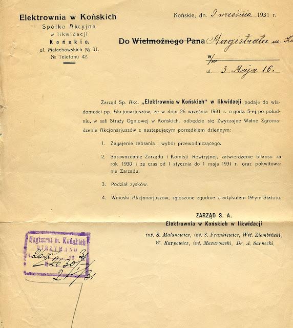 Elektrownia w Końskich - pismo z dnia 2.09.1931 skierowane do magistratu informujące o zwyczajnym walnym zgromadzeniu akcjonariuszy. Proszę zwrócić uwagę na sformułowanie: Elektrownia w Końskich w likwidacji. Dok. ze zbiorów KW.
