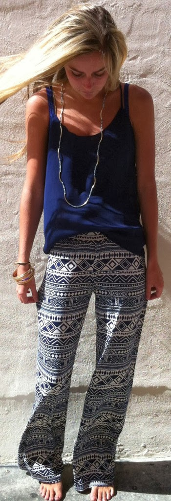 Cute style in tribal trouser and blue tank