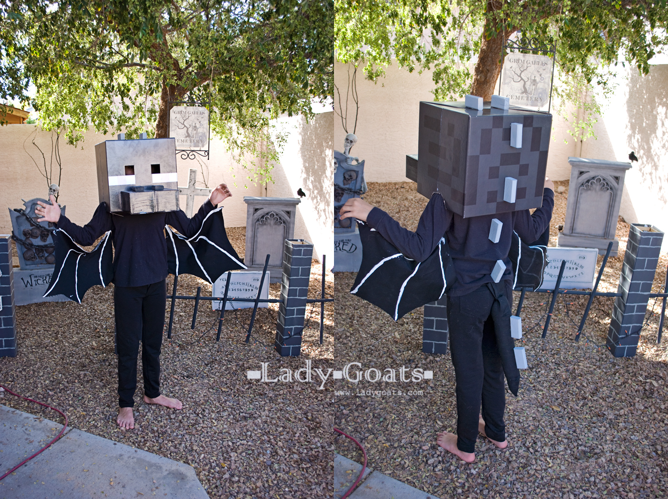 Lady goats how to make an enderdragon costume and this mdears is how you make an ender dragon costume from a store bought enderman head solutioingenieria Choice Image