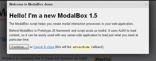 ModalBox lightbox jquery plugin