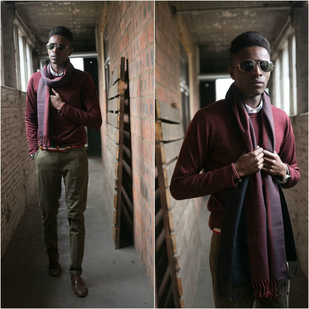 HOW TO PULL OFF A SMART BURGUNDY LOOK ? | JON THE GOLD X THE CLOAKROOM collaboration menswear collection -  Menswear Blogger Antwerp wearing  FILIPPA K crew neck | TIGER OF SWEDEN shirt  | SAMSOE & SAMSOE trouser | PAOLO SARTORI shoes | BEN SHERMAN belt | ZERO UV sunglasses | ORIS watch | SELECTED HOMME scarf