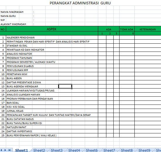 Perangkat Administrasi Guru Format Microsoft Office Excel ...