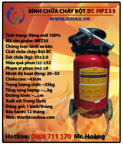 Binh chua chay xe day dang bot bc mftz35 35kg