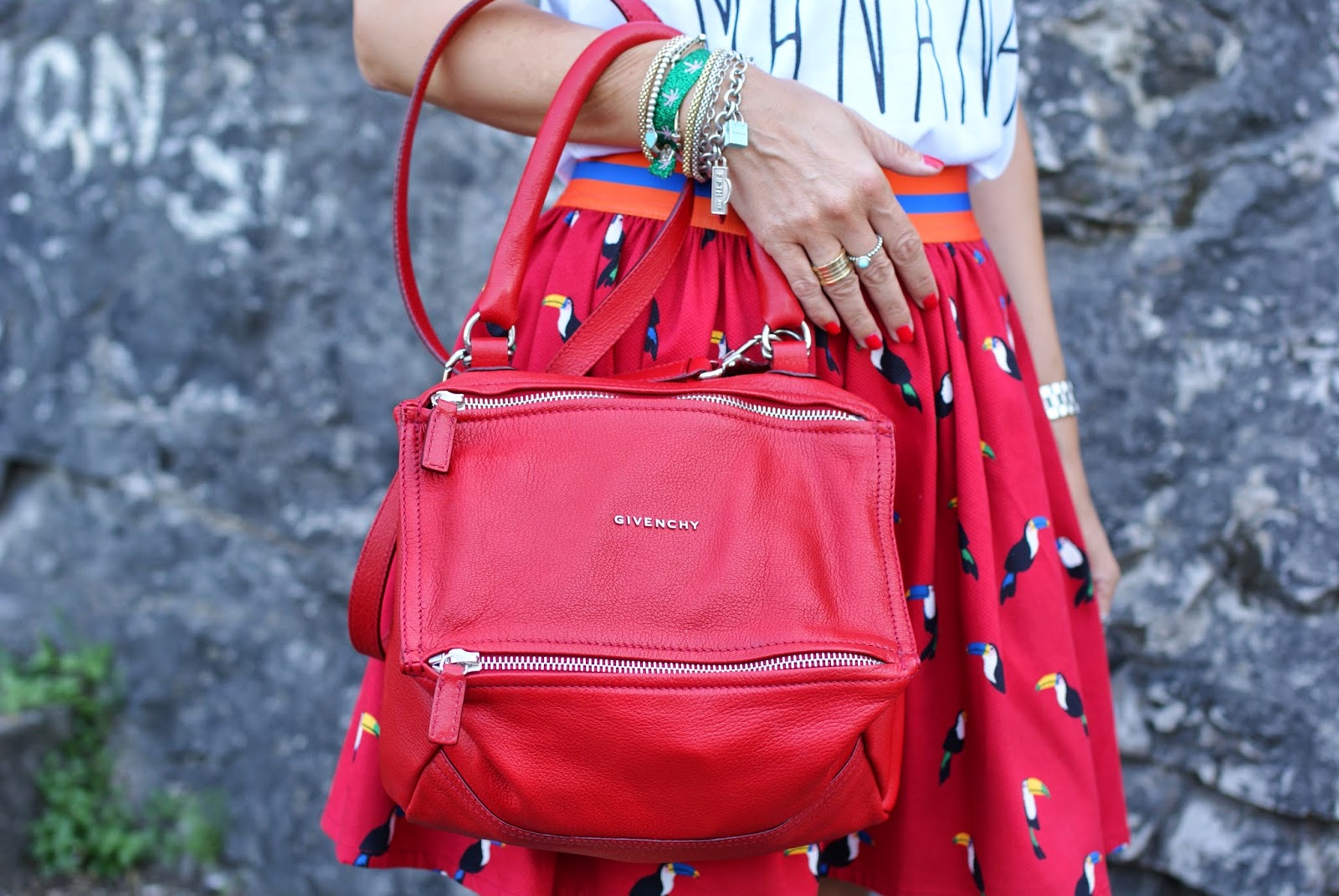 Givenchy Pandora in red, BVLGARI ring, small Pandora, Fashion and Cookies, fashion blogger