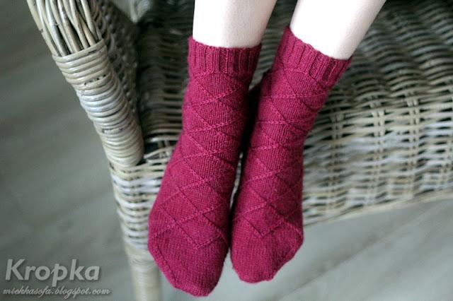 Wełniane skarpetki ręcznie zrobione na drutach
