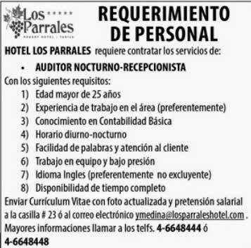 Hotel los Parrales requiere Auditor - Recepcionista
