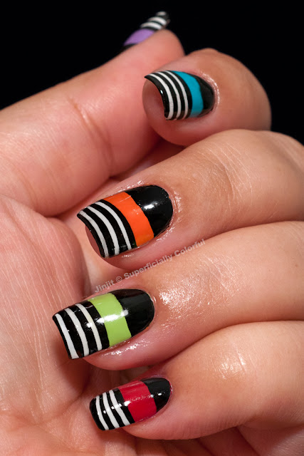 Black and White In Color Tape Nail Art Bondi New York BarryM Nfu Oh Zoya Tutorial
