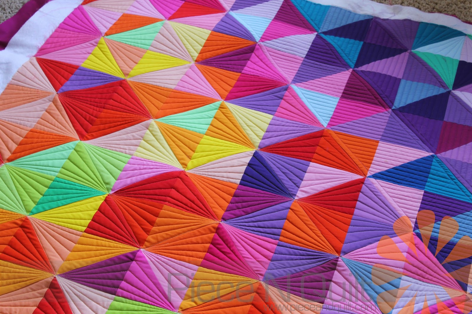 Piece N Quilt: Half Square Triangle Quilt - Custom Machine ... : how to quilt triangles - Adamdwight.com