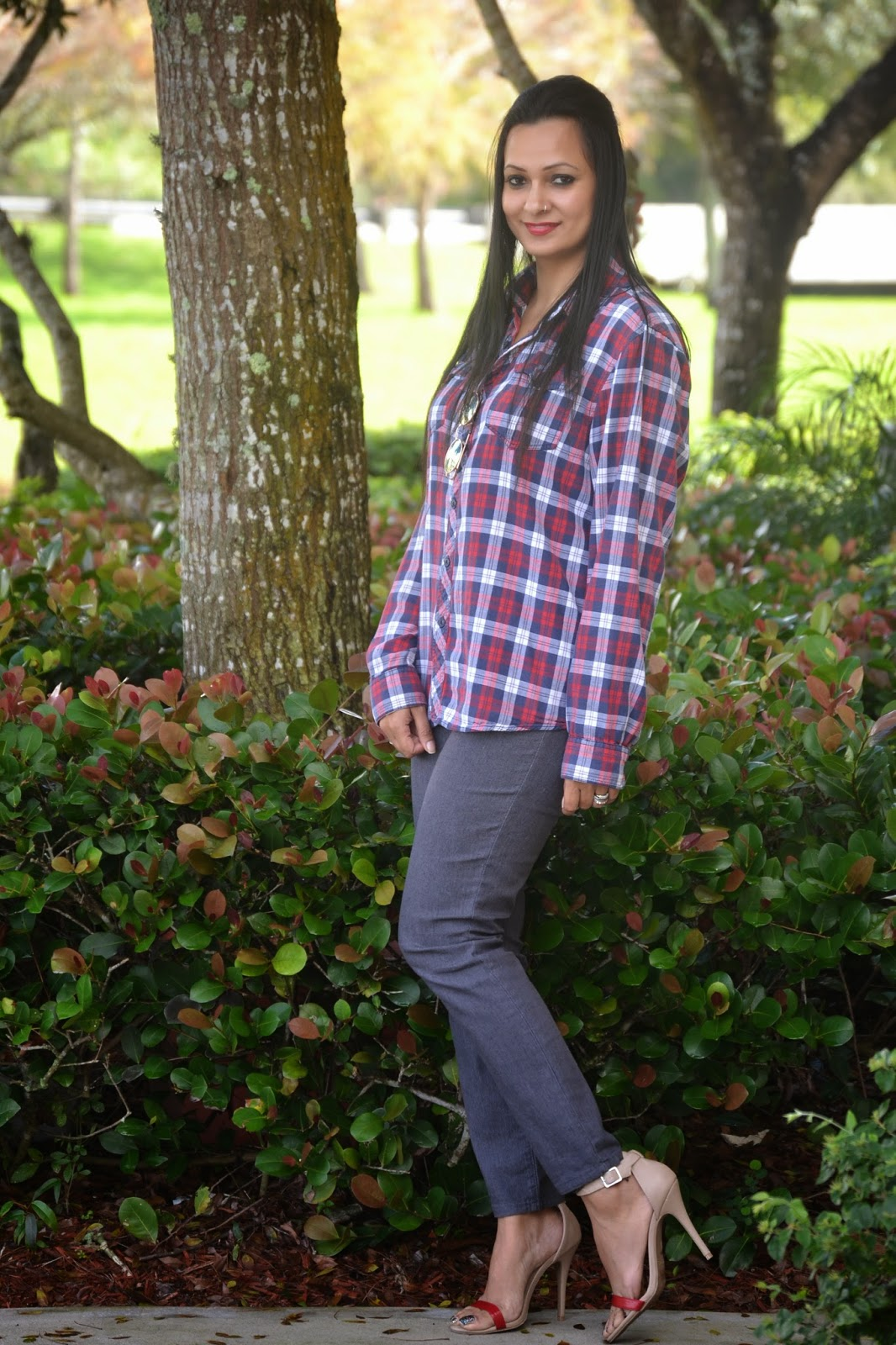 The Red Plaid shirt grey skinny jeans red nude ankle strap shoes www.sandysandhu.co