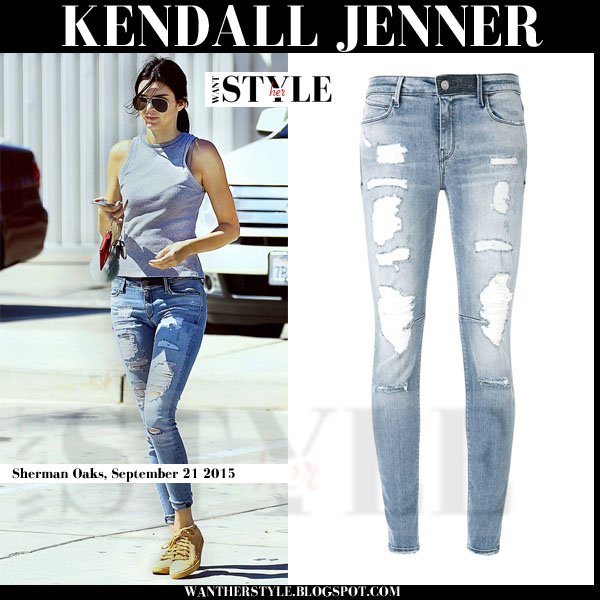 Kendall Jenner in ripped distressed skinny RTA jeans streetstyle models off duty