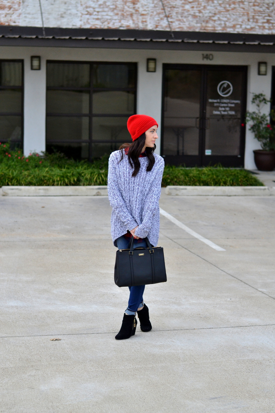 Winter Layers_Skinny Jeans_Kate Spade_Chunky Knit_Beanie