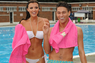 Lucy Mecklenburgh and Joey Essex taking part in a Surf photoshoot
