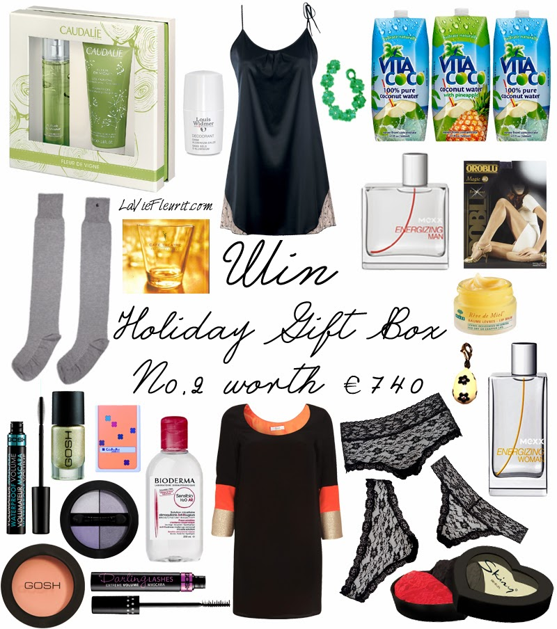 Holiday Give-Away | Christmas Day Gift Box worth over € 750 ! Holiday Give-Away | Christmas Day Gift Box worth over € 750 ! Giveaway, Win, Winactie, Holiday, Fashion, Beauty, Lifestyle, blog, Brands, Must Have, Wish List, Accessories, Make-Up, WINNEN, Xmas, Kerst, Bblogger, Fashionblogger, Mode, Modeblogger, Lifestyleblogger, Ella Luna, Parfum, bodylotion, accessoires, GOSH, Mexx, Thomas Sabo, Triumph, Skiny, Lingerie, Black & Blanche, Caudalie, Cafe Theathre, Music, CD, Bioderma, Verzorging, Nuxe, Oroblu, Louis Widmer, Vita Coco, La Vie Fleurit, Blogger, Fleur Feijen,