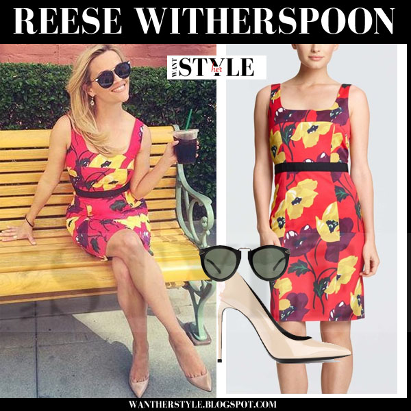 Reese Witherspoon in red floral print draper james harper dress and beige pointed toe saint laurent pumps and karen walker harvest sunglasses what she wore style