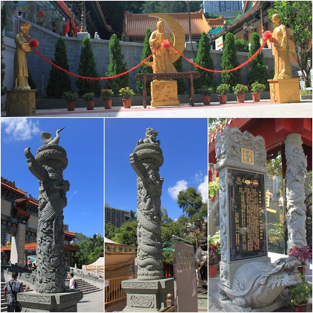 More dragons sculpture and statuus display outside of Wong Tai Sin Temple in Kowloon, Hong Kong