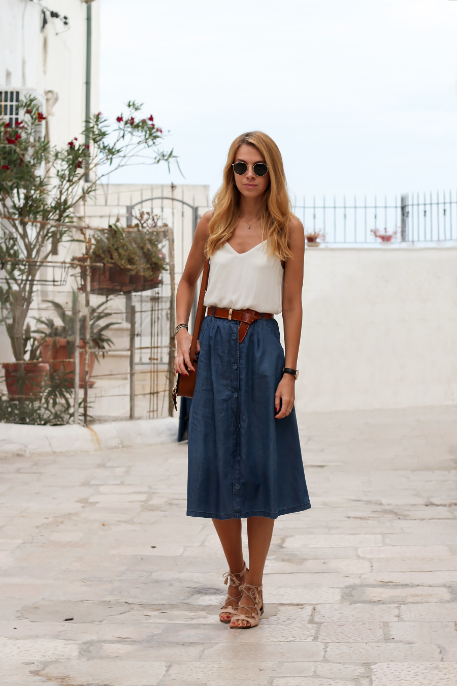 denim midi skirt, lace-up flats and tan accessories